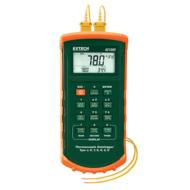 Extech 421509 Hőmérsékletmérő és adatgyűjtő műszer 7 különböző hőelemtípushoz, 2CH, riasztás funkcióval