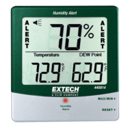 Extech 445814 Páratartalommérő és hőmérsékletmérő kijelző külső szondával riasztási funkcióval