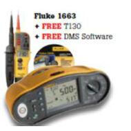 Fluke 1663  univerzális érintésvédelmi műszer, Fluke DMS Plus szoftverrel és Fluke T130 feszültség teszterrel