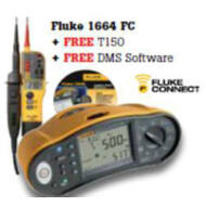 Fluke  1664FC univerzális érintésvédelmi műszer, FlukeDMS szoftverrel és Fluke T150 feszültség teszterrel