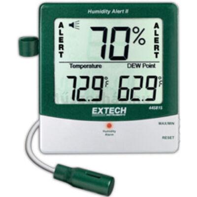 Extech 445815 páratartalommérő és hőmérsékletmérő kijelző külső szondával riasztási funkcióval
